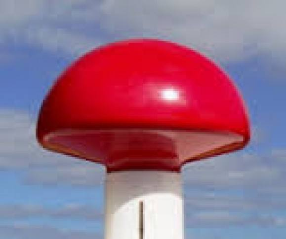 Flagknop i plast Rød